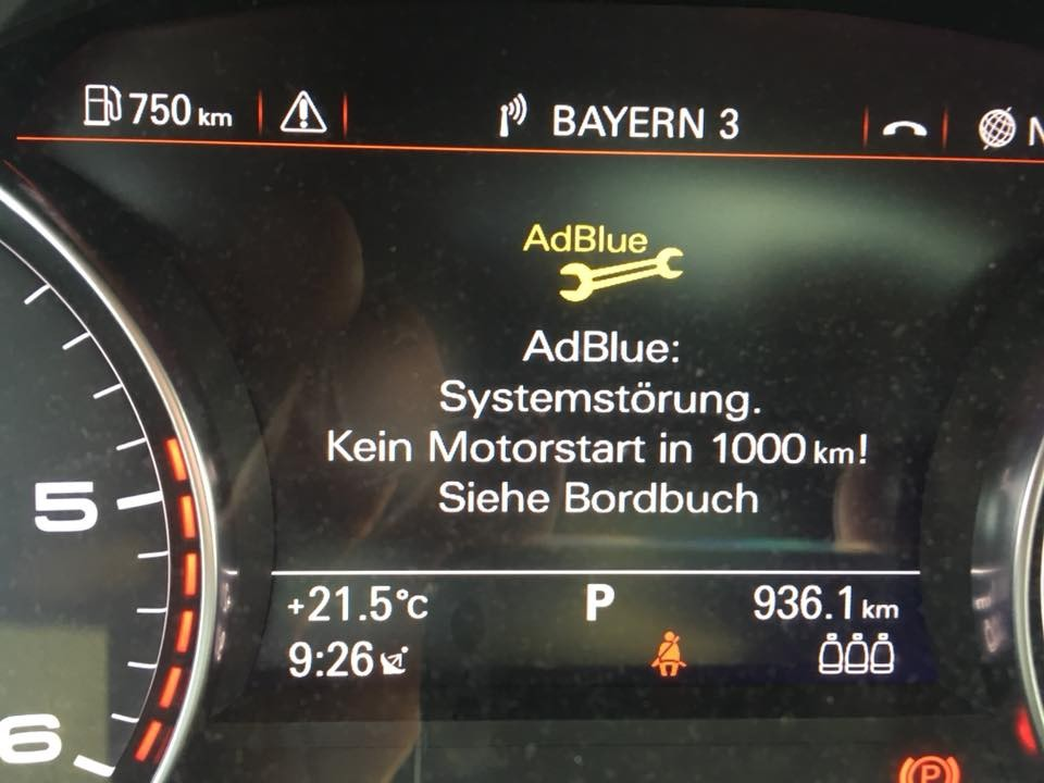 Audi AdBlue Systemstörung kein Motorstart in 1000 km - BolidenForum